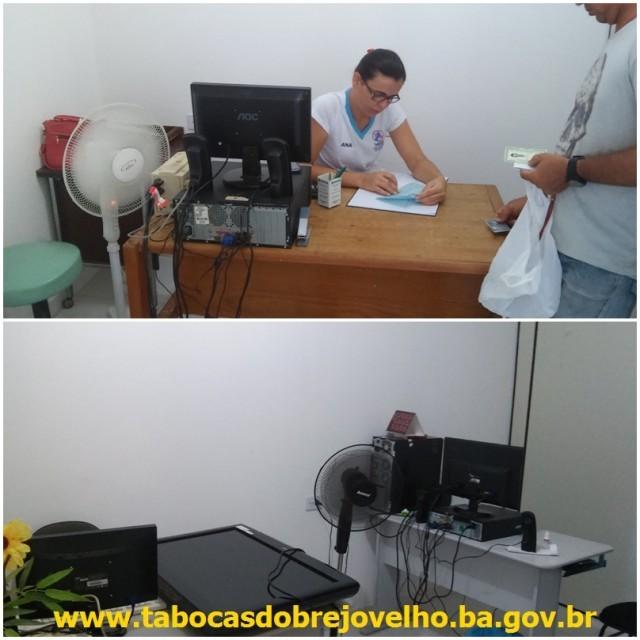 Acima Sala de marcação de exames e abaixo Sala da Vigilância Epidemiológica